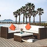 Merax 4 Piece Cushioned Outdoor Patio PE Rattan Furniture Set Sectional Garden Sofa (Brown rattan+beige cushion)