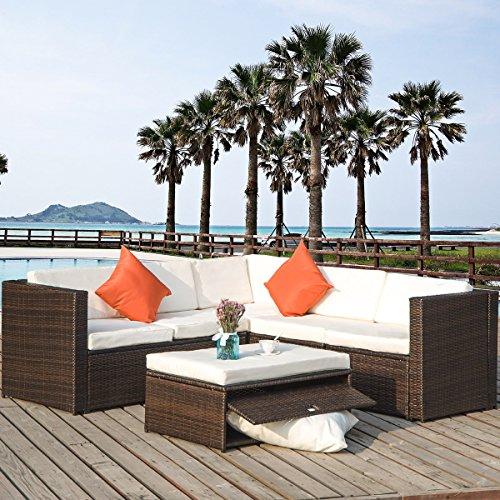 Rattan Sectional (Merax 4 Piece Cushioned Outdoor Patio PE Rattan Furniture Set Sectional Garden Sofa (Brown rattan+beige cushion))