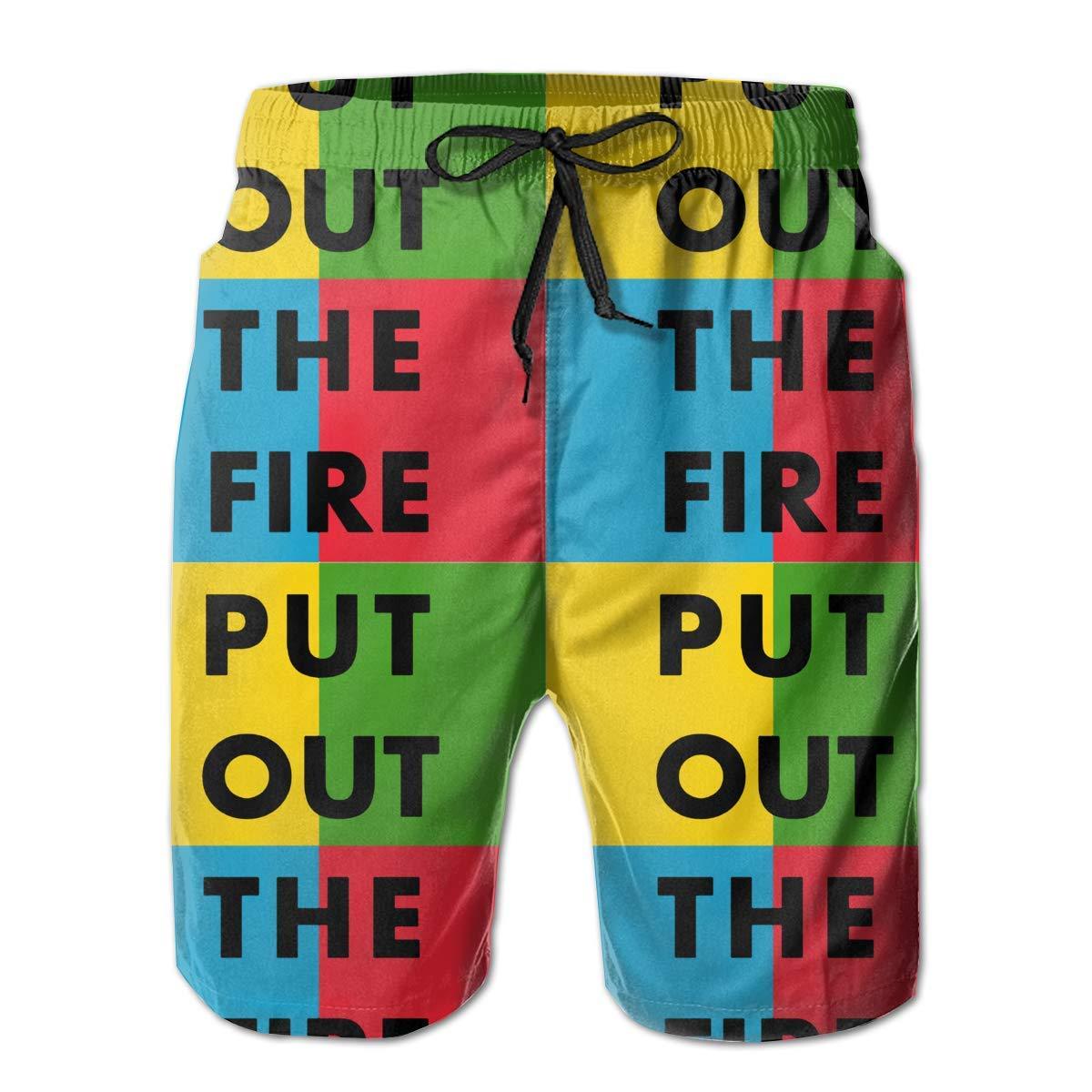 DDYJ Put Out The Fire Boardshorts Mens Swimtrunks Fashion Beach Shorts Casual Shorts Swim Trunks