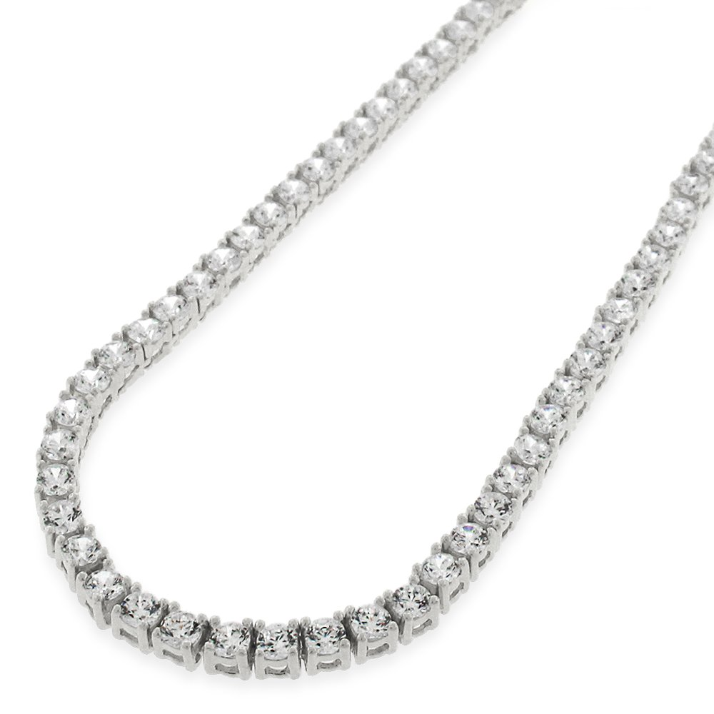 Sterling Silver 3.5mm Brilliant-Cut Clear Round CZ Solid 925 White Tennis Necklace 20'' - 30'' (28) by In Style Designz