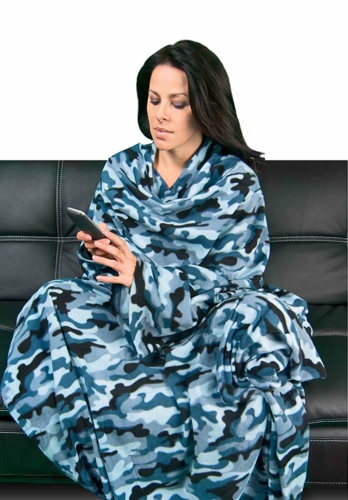 Blue Camo Polar Fleece Dutch Oven Blanket with Sleeves, SM PajamaCity