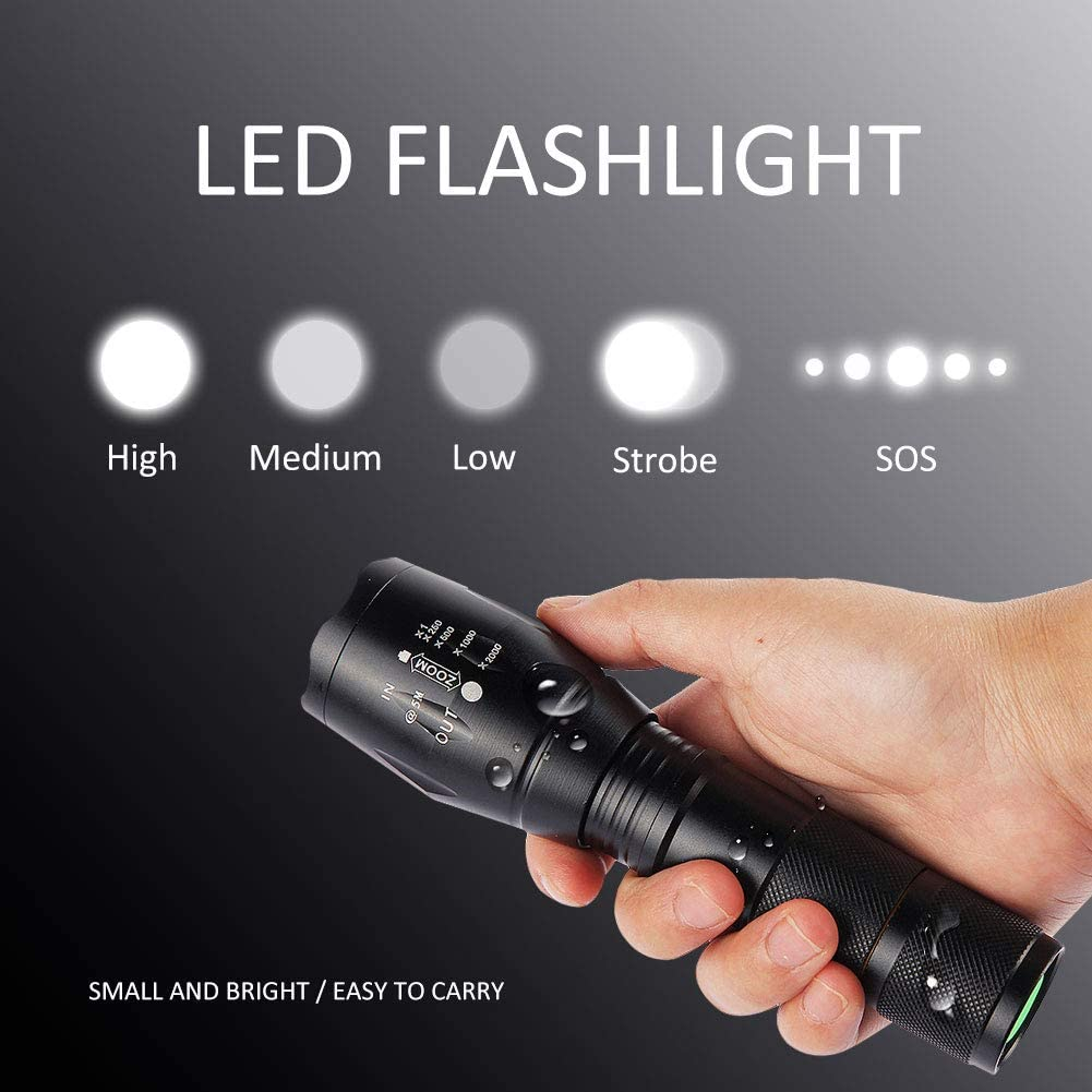 AUSPICE LED Flashlight Perfect for Camping Hiking /& Daily Using Led Torch Tactical Flashlight 5 Lights Modes Ultra-Bright Zoomable IP65 Waterproof Handheld Flashlights