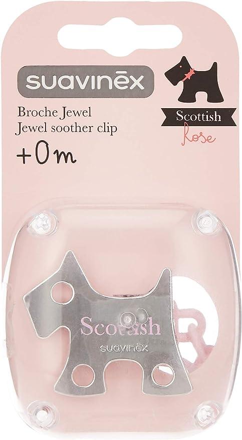 Broche Premium de Chupetes para Beb/és +0 Meses Broche Joya Efecto Metalizado Mate Suavinex Color Gris Con Nueva Placa M/ás Peque/ña 0/% Bpa
