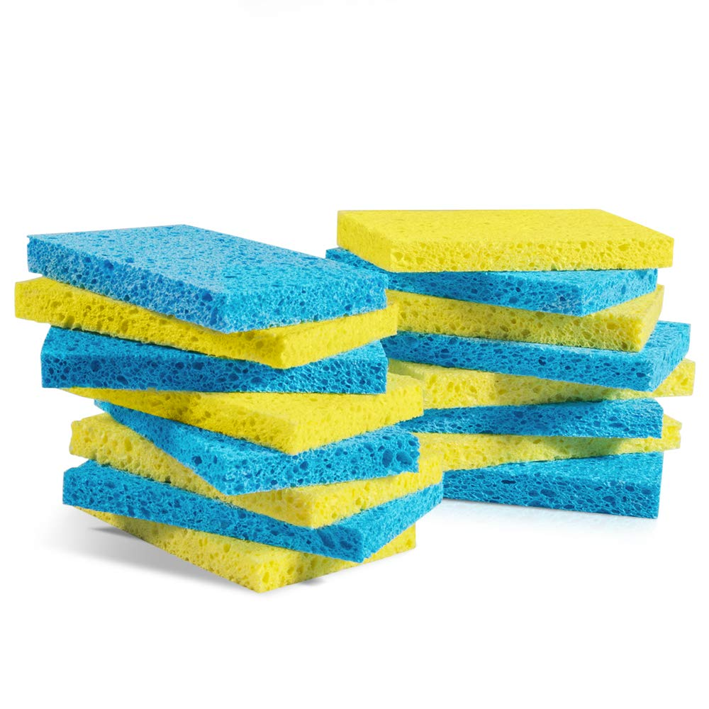 Mastertop 16PCS/Pack Cellulose Cleaning Scrub Sponge for Kitchen Multifunctional Dishwashing Sponges Yellow and Blue by Mastertop (Image #1)
