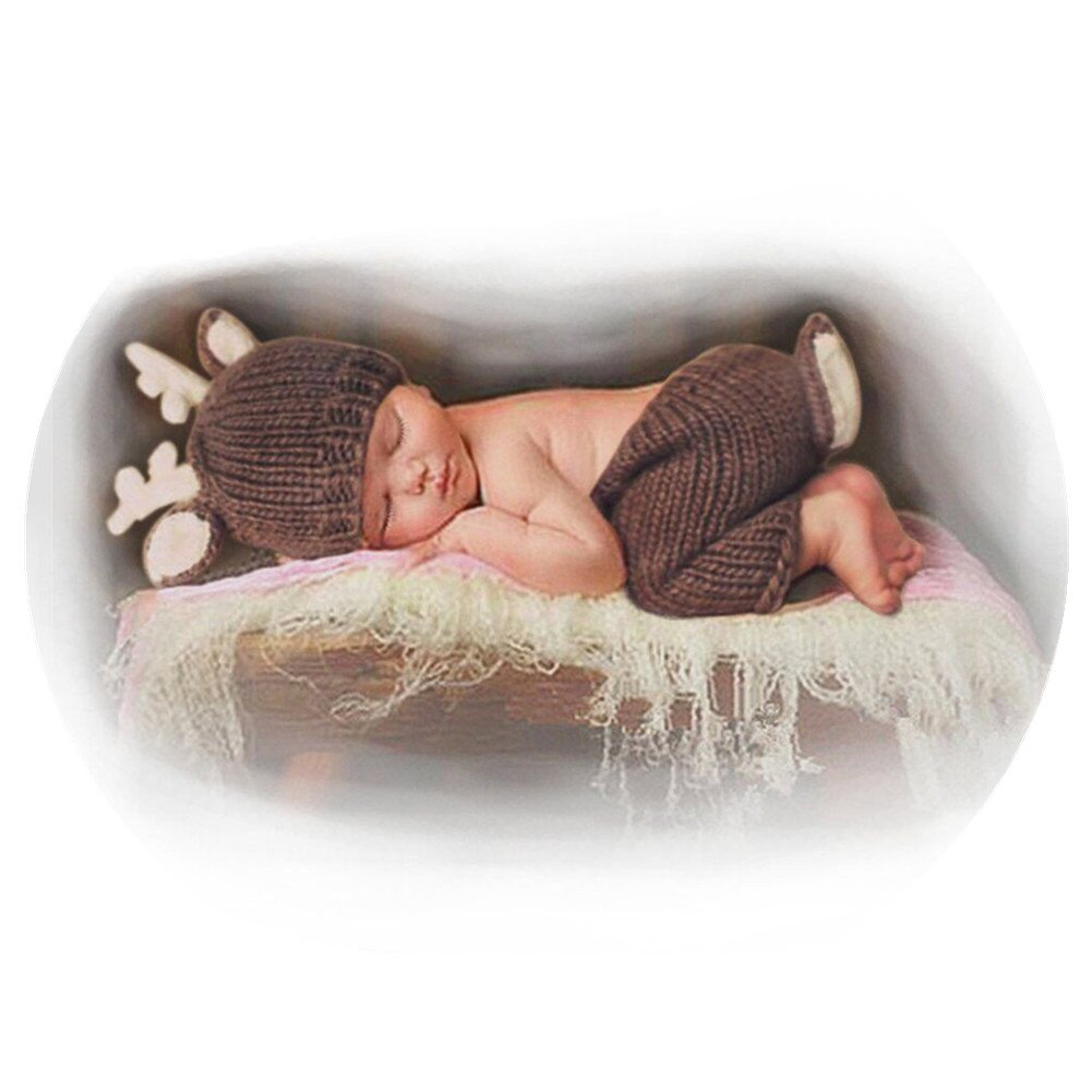 Newborn Baby Girls Boys Deer Crochet Knit Costume Photo Photography Prop Coberllus