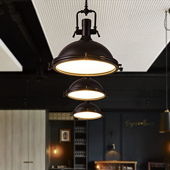 Industrial Single Light Pendant Lamp LITFAD Frosted Glass Diffuser, One Light Iron Pendent Light Mounted Fixture Ceiling Light Chandelier in Black