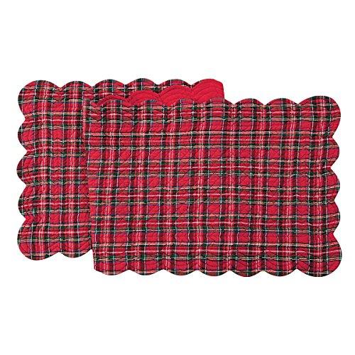 C&F Enterprises - Red Plaid Christmas Reversable Scalloped Table Runner - Runner Reversable Table
