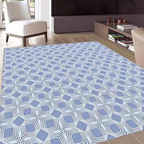 - Rug,FloorMatRug,Doodle,AreaRug,Diagonal Squares Pattern Geometric Interwoven Shapes Ornamental Lace Illustration,Home mat,6'6