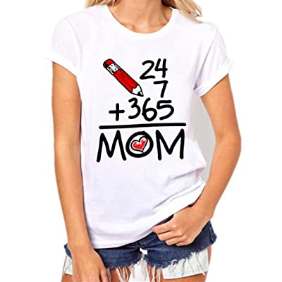 Oksale® Women Mother's Day Short Sleeve Letter Printed T-Shirt Loose Blouse Casual Tops
