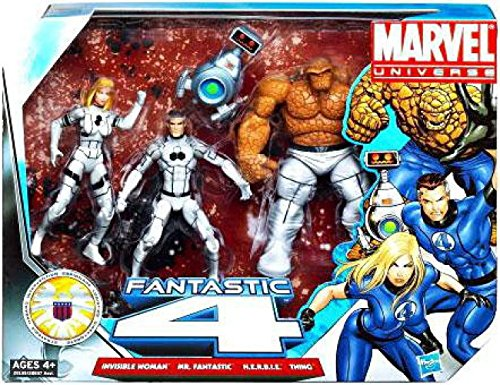 Marvel Universe 3 3/4 Inch Action Figure 3Pack Fantastic Four Freedom Foundation Costumes Invisible Woman, Mr. Fantastic Thing with H.E.R.B.I.E ()