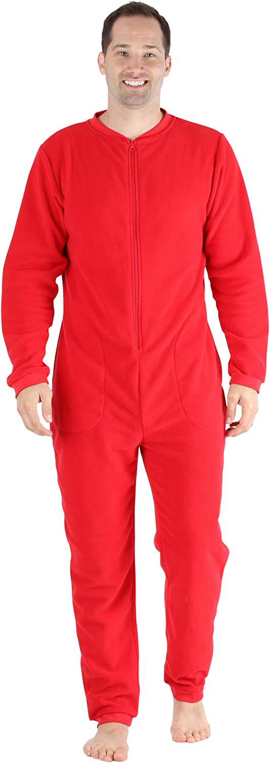 Sleepyheads Mens Fleece Non-Footed Solid Color Onesie Pajamas Jumpsuit