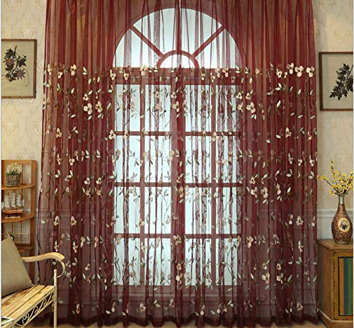 (BW0057 Luxury Flower Embroidery Elegance Sheer Curtain Rod Pocket Home Decoration Panel Transpaent Voile Drape for Bedroom Living&Kids Room(1 Panel, W 50 x L 84 inch, Red))