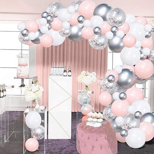 Luftballon Girlande Set 100 Stück Pink Rosa Silber Weiß Helium Metall Konfetti Ballons 5m Ballonbogen Kit Für Kinder Mädchen Hochzeit Geburtstag Baby Duschen Taufe Party Hintergrund Dekorationen Spielzeug