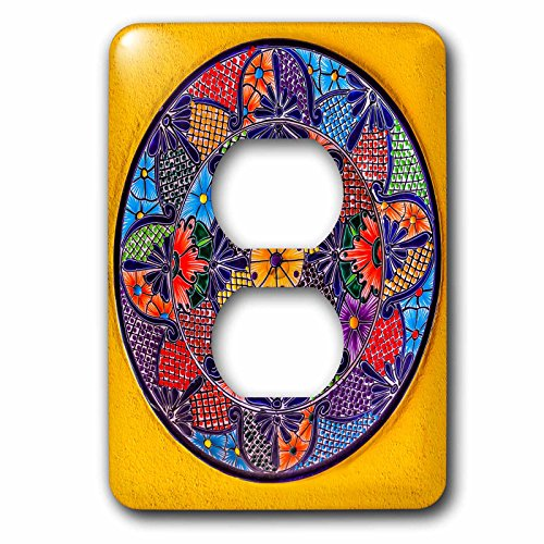 3dRose lsp_278312_6 Colorful Ceramic Mexican Plate, Guanajuato, Mexico Plug Outlet Cover, Mixed