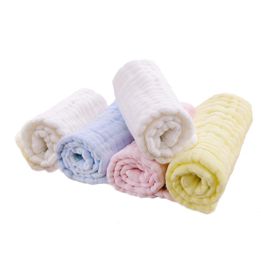 FYGOOD Lot de 5pcs Linges de Protection Mouchoir en mousseline de coton Bébé Nouveau-Né Impression- 10 couches de mousseline 46 * 17cm