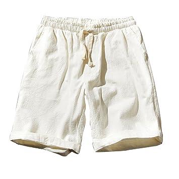 6f333cb72c LaoZanA Cargo Bermudas Hombre Pantalones Cortos De Playa Deportivos Chinos  Pantalon Lino Cintura Elástica  Amazon.es  Deportes y aire libre