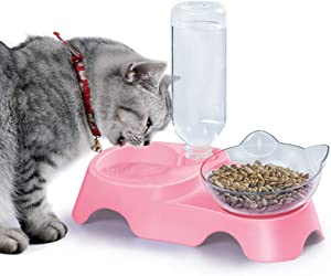 MILIFUN Double Dog Cat Bowls - Pets Water and Food Bowl Set, 15°Tilted Water and Food Bowl Set with Automatic Waterer Bottle for Small or Medium Size Dogs Cats