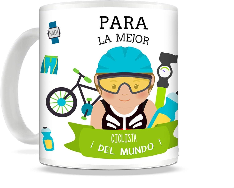 REGALOS ESTRELLA AZUL Taza de Desayuno Original para Regalar al Mejor Deportista Taza con Frases y Mensajes Divertidos y alegres Deporte, Regalos para Deportistas (Ciclista (Ella))