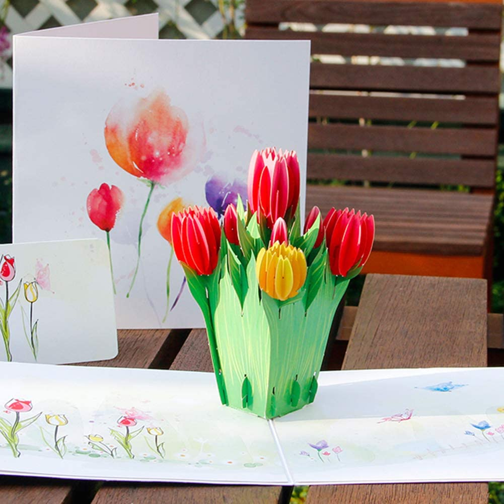 Handmade Pop Up Tulip Greeting Card