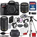 Nikon D7200 DX-format Digital SLR w/AF-P DX NIKKOR 18-55mm f/3.5-5.6G VR Lens, AF-P DX NIKKOR 70-300mm f/4.5-6.3G ED, Professional Accessory Bundle (18 Items)
