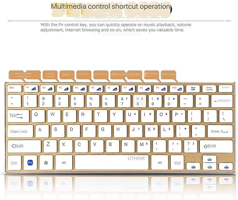 Ultra-Thin Bluetooth Mouse and Keyboard for Home PC Gamers /& Office Typists Use NCBH Mini Wireless Metal Keyboard and Mouse Set