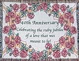 40th Anniversary Cotton Sofa Throw - 40th Wedding Anniversary Gift - Made in USA