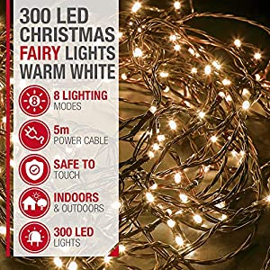 Christmas Tree Fairy Lights – 300 LED Warm White with 8 Different Modes; for Outdoor & Indoor Use, Plug in Xmas Party…