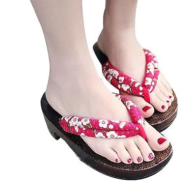ZooBoo Japanische Sandalen Pantoffel Sommerschuhe - Traditionelle Japanische Stile Holzschuhe Geta Blumenmuster...