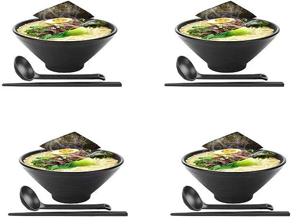 KLDX 4 Juegos (12 Piezas) Tazón japonés Grande de melamina, plástico Duro, Ramen japonés con Palillos a Juego y Cuchara para Fideos asiáticos Udon Soba Pho: Amazon.es: Hogar