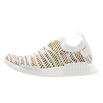 359ac13ab43c5 adidas Originals NMD R1 STLT Primeknit Shoe Womens Casual 5 White-Semi  Solar Yellow-Pink