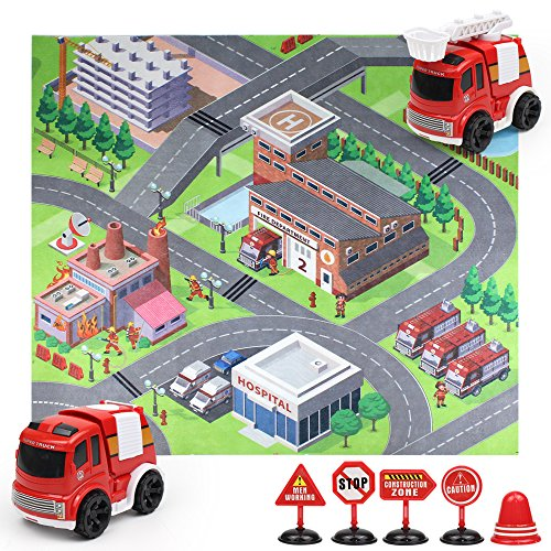 St Guosen Friction Power Push Toy Car kits, Construction Vehicles/Sanitation Trucks/Fire Engines/Police Cars, Roadblocks Urban Traffic Carpets (Fire truck)