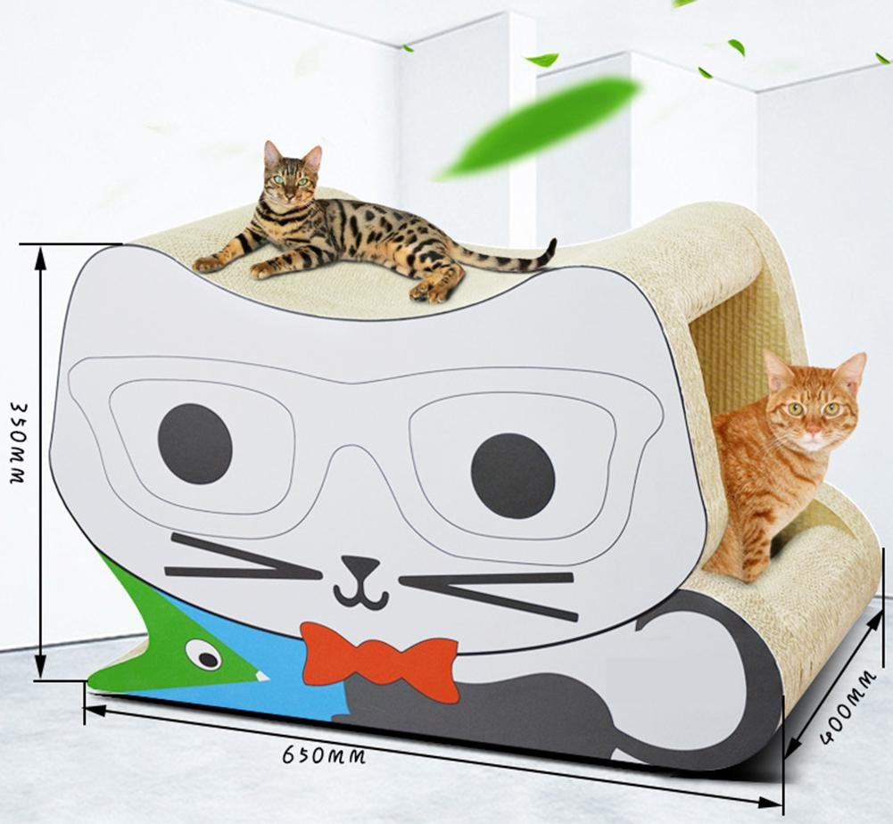 Cat Scratcher Cardboard Toy Glasses Stereo Cat Scratches Cat House Bed Jumbo Cat Scratcher Lounge Interactive Cat Game 650x350x400mm MT-286