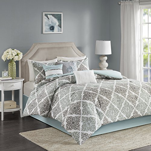 Home Essence – Vintage Vines 7-Piece Comforter Set- Grey, Aqua – Printed – King Size – includes comforter, bedskirt, shams and pillows (Vintage Comforter Sets)