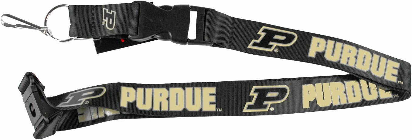 aminco Purdue Boilermakers New Clip Lanyard Keychain Id Ticket Holder Black
