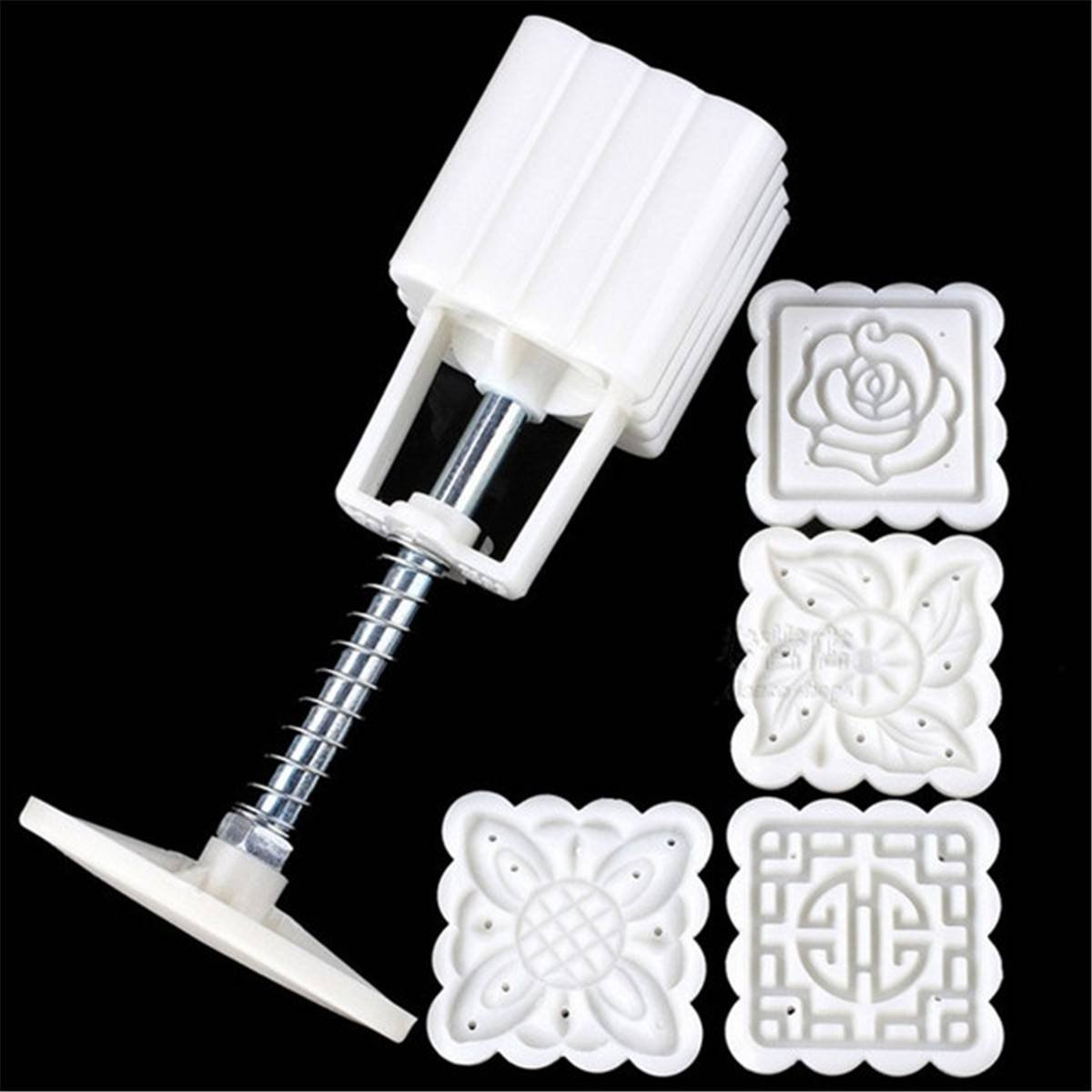 KINGSO Mooncake Fodant Gift DIY Moon Cake Mold 4 Flower Plant Stamps Decor Mould (Square) KINGSOokiuhg1322