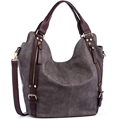 d7112b9389 Amazon.com: JOYSON Women Handbags Hobo Shoulder Bags Tote PU Leather  Handbags Fashion Large Capacity Bags dark brown: Shoes