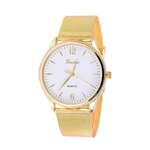 Reloj para mujer Marca Golden Simple Correa ultrafino Cinturón de malla Crystal Quicksand Beads Cuarzo Banda