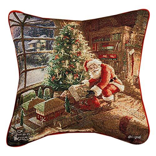 (Decorative Pillows -Santa Delivering Tapestry Throw Pillow - Thomas Kinkade Design)