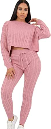 Janisramone Womens Ladies New Cable Knitted Cropped Baggy Top Bottoms Co-Ord 2 Pcs Suit Loungewear Tracksuit