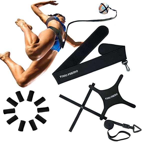 Amazon.com : TOCO FREIDO Volleyball Training Equipment Aid with Adjustable Cords and Waist Belt, Solo Practice of Serving, Spiking, Setting and Arm Swing ...