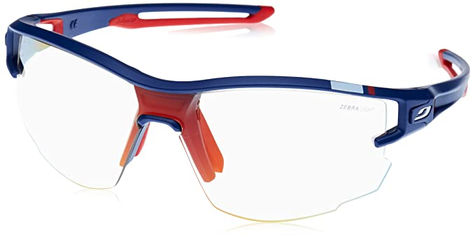 3ee1e7f5351782 Julbo Aero Performance Sunglasses - REACTIV Zebra Light+ Clear - Blue Red