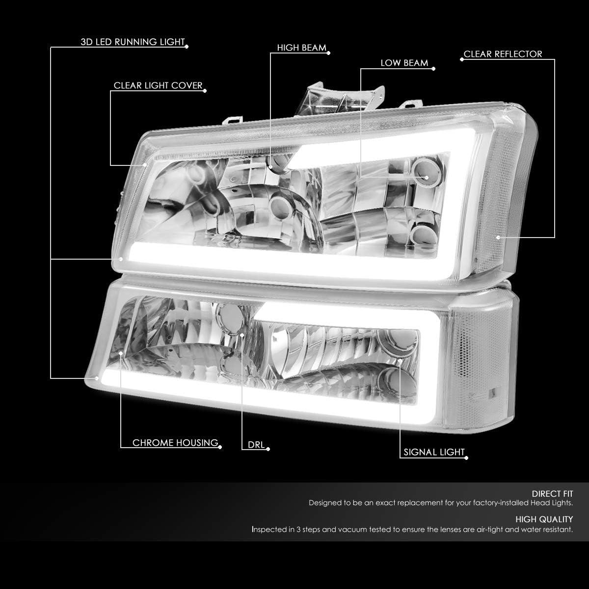 DNA MOTORING Chrome HL-LB-CSIL03-CH-CL1 3D LED DRL Tube Bar Headlight Bumper Lamp Set