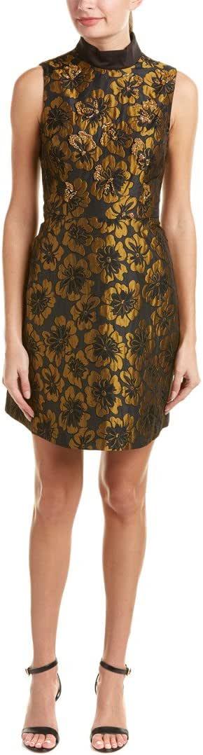 RACHEL Rachel Roy Women's Mock Neck Metallic Jacquard Fit and Flare Dress