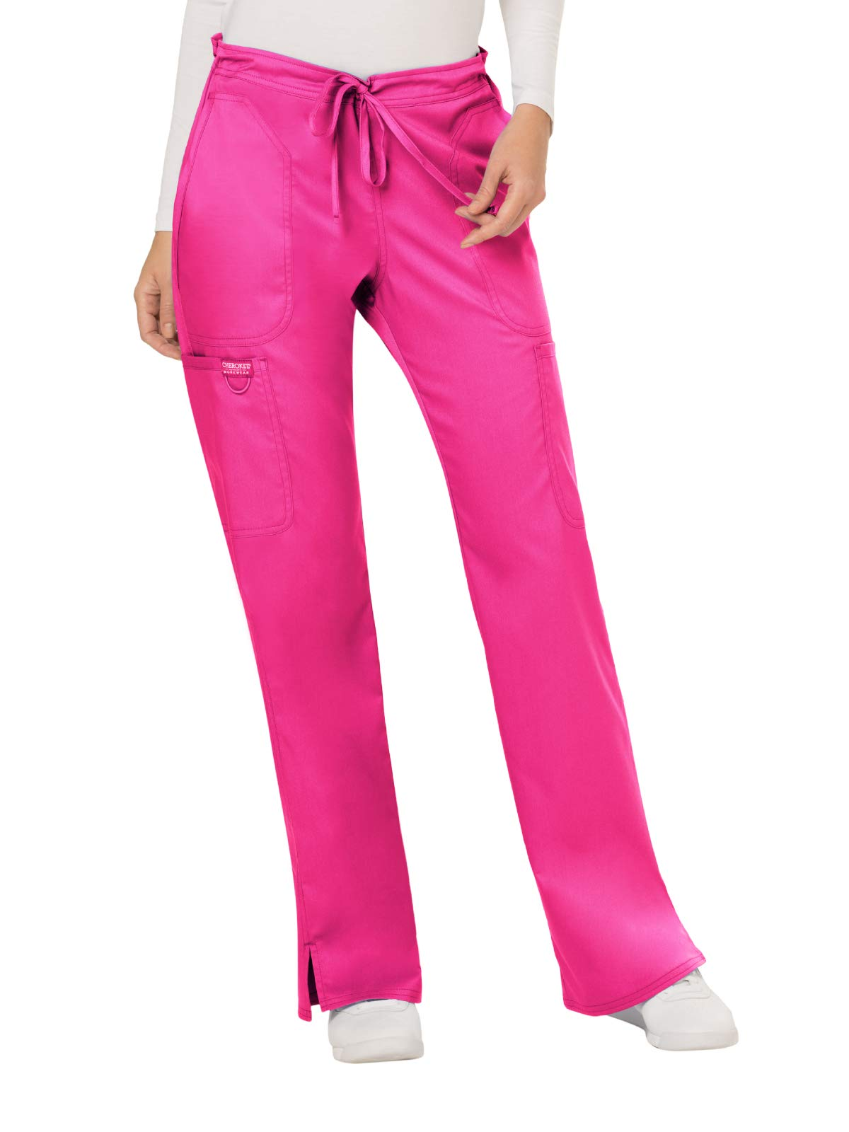 Cherokee WW Revolution WW120 Women's Mid-Rise Drawstring Cargo Pant, Electric Pink, Large by Cherokee