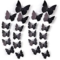Amaonm 60 Pcs 5 Packages Beautiful 3D Butterfly Wall Decals Removable DIY Home Decorations Art Decor Wall Stickers & Murals for Babys Bedroom Tv Background Living Room (Black)