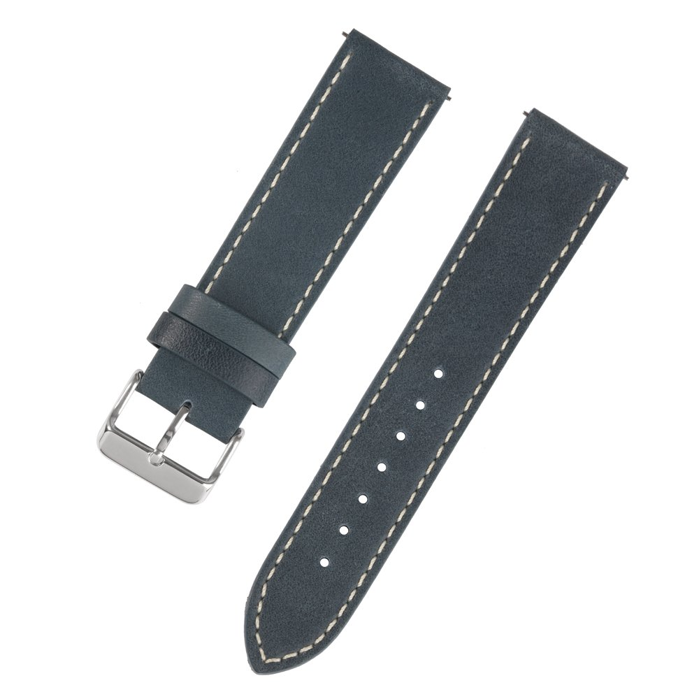 Ivystore Watch Strap 18mm 20mm 22mm Vintage Genuine Leather Sport Watch Strap or Smart Watch Band with Quick Release Spring Bar And Stainless Steel Buckle (20mm, N.Blue)