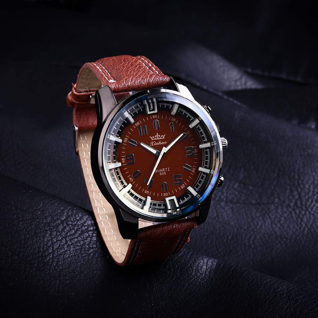Amazon.com : XBKPLO Mens Quartz Watch, Retro Sport Luxury Analog Mechanical Wrist Watch Large Dial Watches Leather Strap Fashion Business Jewelry Gift : Pet ...
