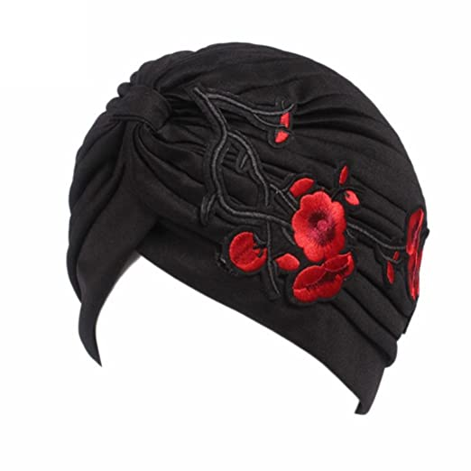 333e160c2b7 QingFan Women Girl Floral Flower Embroidery Chemo Hat Beanie Turban Head  Wrap Cap for Cancer (