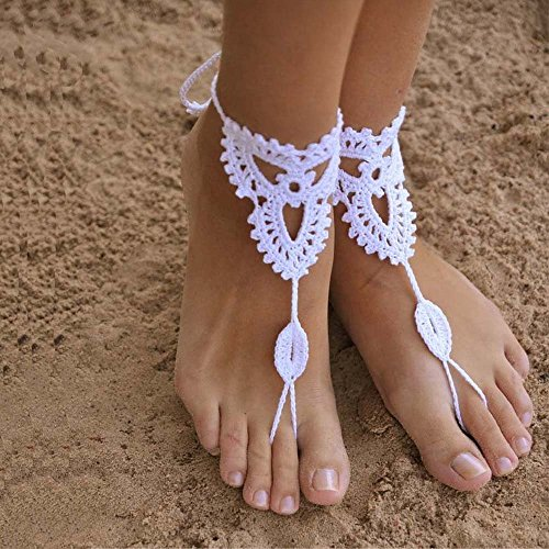 crochet barefoot sandals/Nude shoes/Foot jewelry/Bridesmaid accessory/Yoga shoes/ Beach accessory/Beach wedding/Belly dance/Anklet/Summer shoes, One Size Fits All (White)