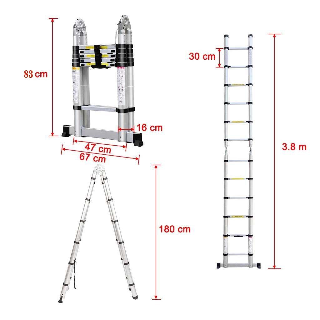 3/ans de garantie 1.9/m + 1.9/m 3,8/m extension Stand en A /Échelle multifonctions /Échelle t/élescopique UK Stock 3.8/m